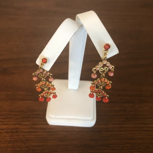 2/$25 Gold and multi rust orange dangle earrings
